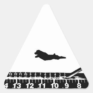 Salto del muelle pegatina triangular