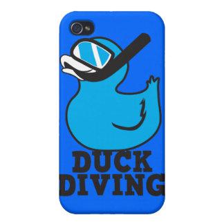 Salto del pato con la máscara de goma del duckie iPhone 4 fundas