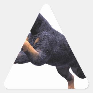 Salto del perrito del Doberman Pegatina Triangular