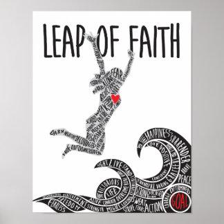 Salto del poster de la fe con la mujer que salta póster