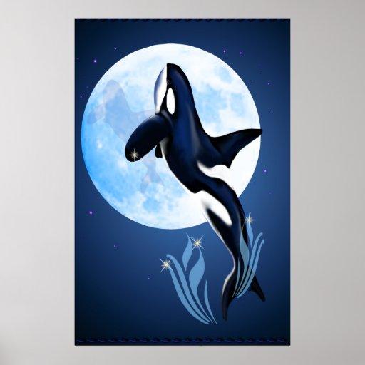 Salto del poster de la orca