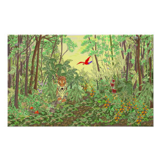 Salto del tigre en la selva tropical póster