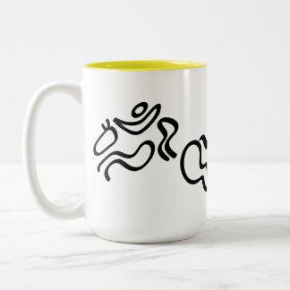 Salto ecuestre taza de café de dos colores