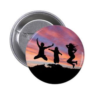 Salto en el botón de la puesta del sol pin redondo de 2 pulgadas
