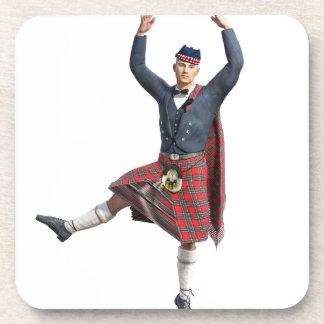 Salto escocés del bailarín posavasos de bebidas