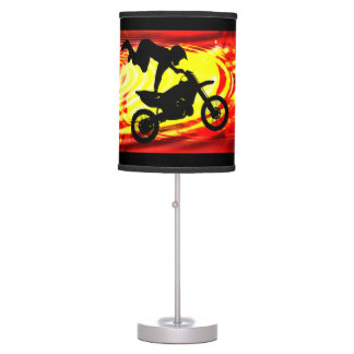 Salto explosivo del motocrós lámpara de mesilla de noche