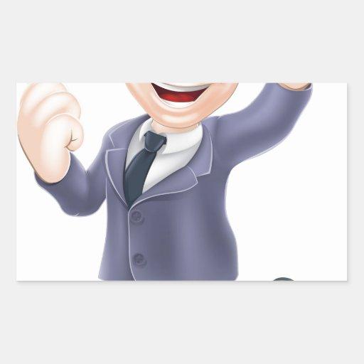 Salto feliz del hombre de negocios pegatina rectangular