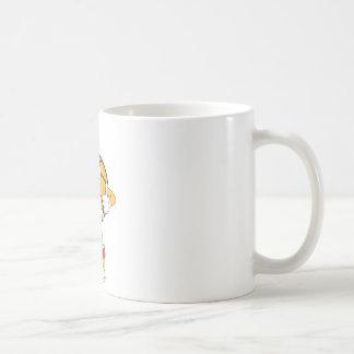 Salto feliz del jugador de básquet tazas de café