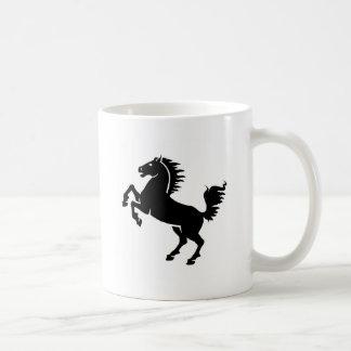 Salto negro del caballo taza básica blanca