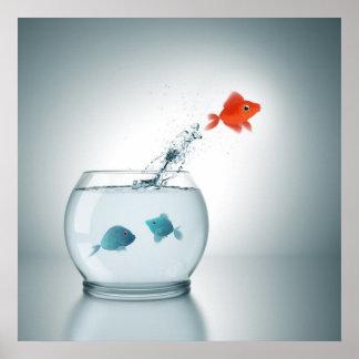 salto rojo de los pescados impresiones