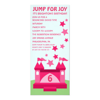Salto rosado para la invitación del cumpleaños de