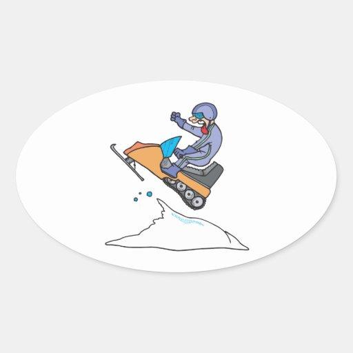 Salto Snowmobiling Pegatina Ovalada