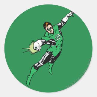 Salto verde de la linterna pegatina redonda
