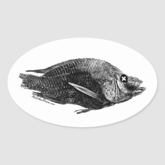 Salton Sea Dead Tilapia Oval Sticker
