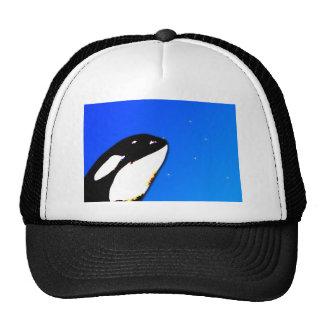 Saltos del espía de la orca de la orca en un cielo gorra
