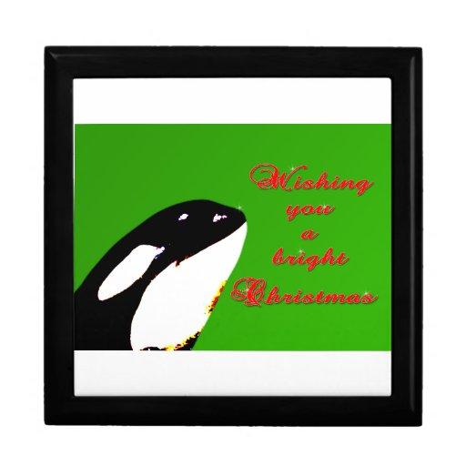 Saltos del navidad de la orca al día de fiesta joyero cuadrado grande