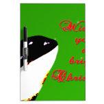 Saltos del navidad de la orca al día de fiesta tablero blanco