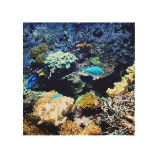 Saltwater Aquarium Wood Print