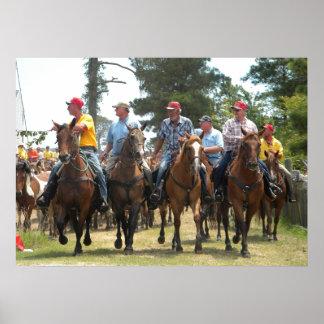 Saltwater Cowboys herding the ponies Poster