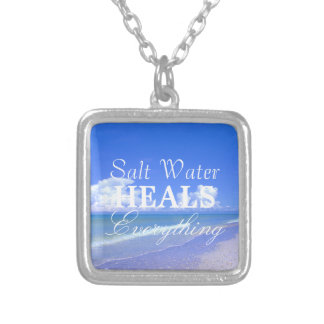 Saltwater Heals Everything Square Pendant Necklace