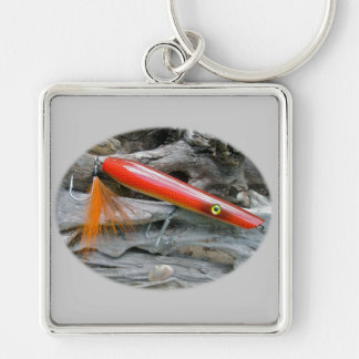 Saltwater Lure Popper Firebird Coordinating Items Silver-Colored Square Keychain