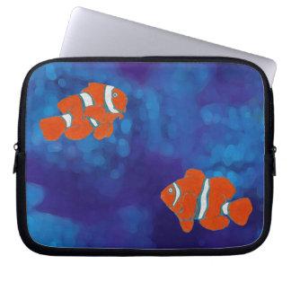 saltwater tropical clown fish laptop sleeve