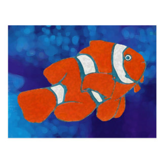 saltwater tropical clown fish postcard