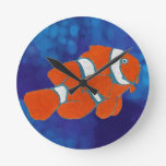saltwater tropical clown fish round wall clocks