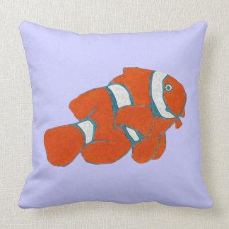saltwater tropical clown fish throw pillow