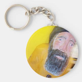 Salty Bearded Sailor Man Basic Round Button Keychain