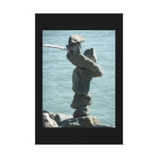 Salty Dog Rock Sculpture 3D Window Canvas Print
