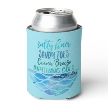 stuffforeveryone Salty Hair Sandy Toes Ocean Beach Quote Can Can Cooler