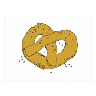 salty hot soft pretzel postcard