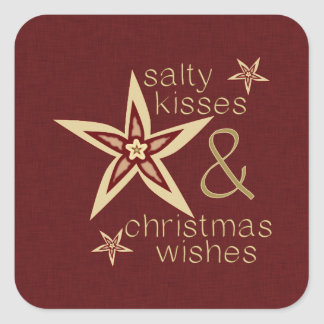 Salty Kisses Christmas Wishes Square Sticker