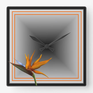 Salty Kisses Tropical Decor Bird of Paradise Square Wall Clock