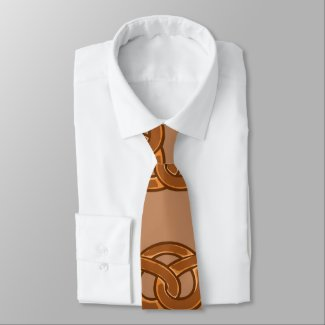 Salty Pretzels Lovers Food Bakers Loop Shape Neck Tie