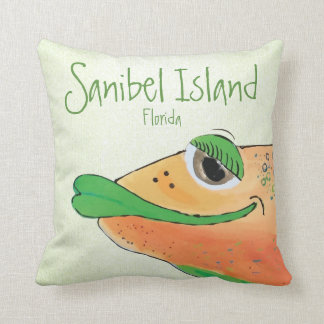 Salty Sam Adorable Fish Art Sanibel Island FL Throw Pillow