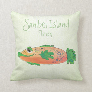 Salty Sam Adorable Fish Art Throw Pillow