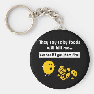 Salty Snacks Basic Round Button Keychain