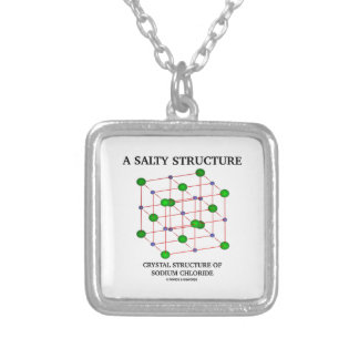 Salty Structure Crystal Structure Sodium Chloride Silver Plated Necklace