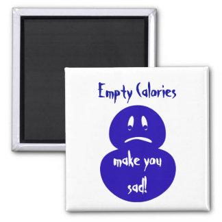 Salud, calorías vacías, tristes imán cuadrado