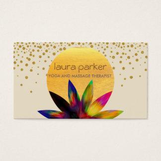 Salud curativa de la yoga del logotipo de la flor tarjetas de visita
