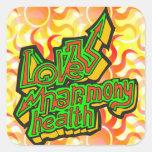 Salud de la armonía del amor calcomanía cuadradas