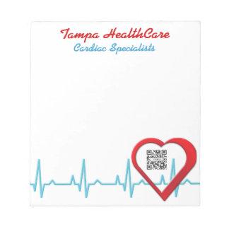 Salud del corazón de la plantilla de la libreta blocs de papel