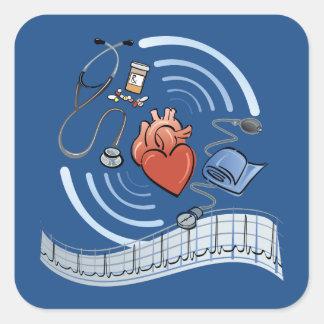 Salud del corazón pegatina cuadrada