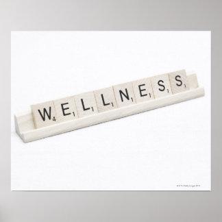 Salud deletreada en un juego de tablero de la póster