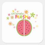 Salud dulce de la fruta de la sandía de la sandía pegatina cuadrada
