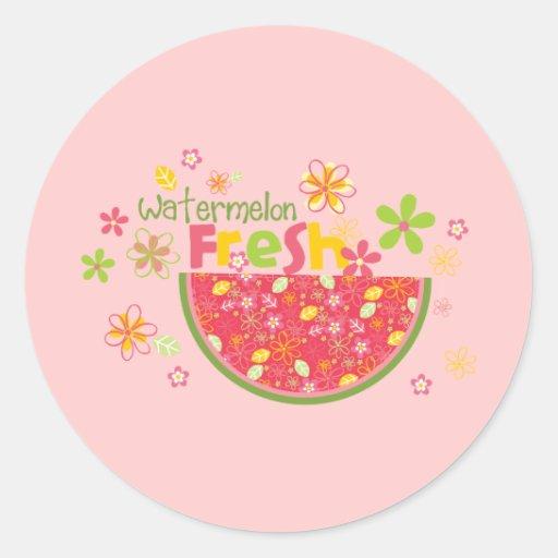Salud dulce de la fruta de las sandías de la pegatinas redondas