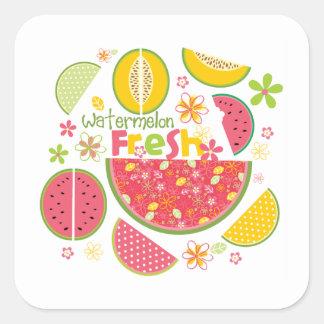 Salud dulce de la fruta del cantalupo de la sandía pegatina cuadrada