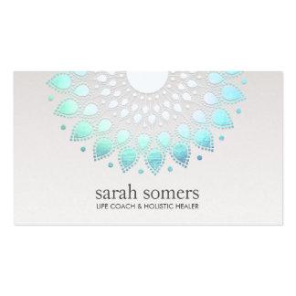 Salud floral azul y cita holística de la salud tarjetas de visita